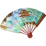 SALE Blue Toshikane Porcelain Fan Pin with Temple