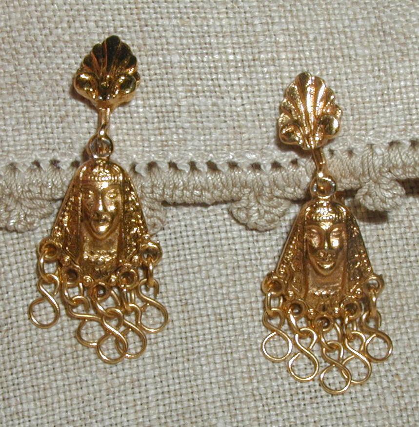ART (c) Signed Pharaoh  Egyptian Inspired Earrings