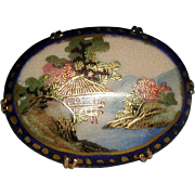 SALE Scenic Hand Painted Satsuma Porcelain Brooch