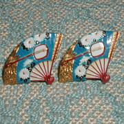 SALE Toshikane Chrysanthemum and Shamisen Fan Earrings