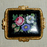 SALE Black Glass Victorian Brooch with Floral Bouquet in Ornate Gilt Frame