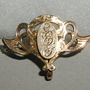 Gold Plated Watch or Chatelaine Pin Circa 1900