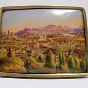 SALE Swiss Miniature Scene on Porcelain Brooch circa 1840