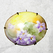 Hand Painted Victorian Porcelain Brooch with Violets