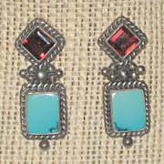 Turquoise and Red Tourmaline Sterling Post Earrings for Pierced Ears