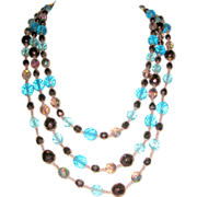 SALE Three Tier Glass Beaded Necklace - Blue, Copper Brown