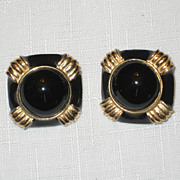 SALE Vintage Signed Gay Boyer  Black Enamel and Gold-tone Clip Earrings