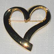 Trifari Signed Gold Tone Heart Pin