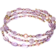 SALE Amethyst, Freshwater Pearl and Glass Bead Memory Wire Stack Bracelet