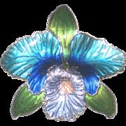 SALE Enameled Blue Orchid Brooch