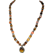 SALE North African Necklace of Tiger Eye and Carnelian with Silver-tone Accents