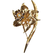 SALE Signed Boucher Gold-tone Jonquil Pin with Cultured Pearl 1962