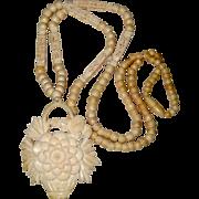 SALE Carved Bone Pendant Necklace with Chrysanthemum Flower Basket Design