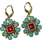 Southwestern Turquoise, Carnelian and Sterling Earrings