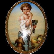 Victorian Porcelain Portrait or Picture Brooch – Beggar Boy Eating Bread