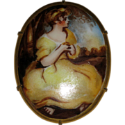 SALE Hand Painted Porcelain Cameo Scene of Young Girl in Yellow Dress