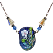 SALE Blue Glass Lampwork Necklace with Crystal Beads on Sterling Chain - Italy