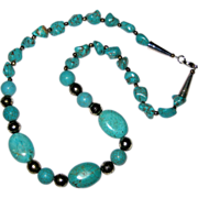 """SALE Chunky Turquoise and Silvertone Bead Southwestern Style Necklace 22"""""""