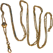 "Victorian 48"" Gold Filled Watch Chain with Cultured Seed Pearl Slider"