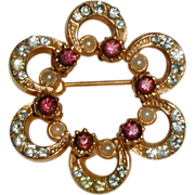 SALE Gold-tone Rosette Pin with Rhinestones, Amethyst Rhinestones and Costume Pearls