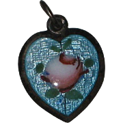 SALE Sterling Blue Guilloche Heart Charm with Pink Rose