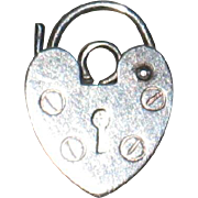 SALE 1970's Heart Shaped Sterling Silver British Padlock Charm or Lock