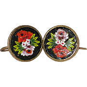 Italian Micro Mosaic Earrings with Roses - Pierced Ear Wires