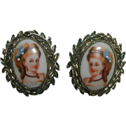 SALE Whiting Davis 1962 Clip Earrings with Portrait of Blonde Victorian Lady in Blue Dress