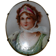 Large Queen Louise of Prussia Portrait Pin - Transfer on Porcelain with Hand Painted Detail