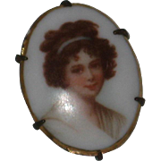Petite Elisabeth Vigee Le Brun Portrait Pin - Transfer on Porcelain with Hand Painted Detail