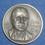 SALE Indiana Silver Statehood Medal - James Whitcomb Riley
