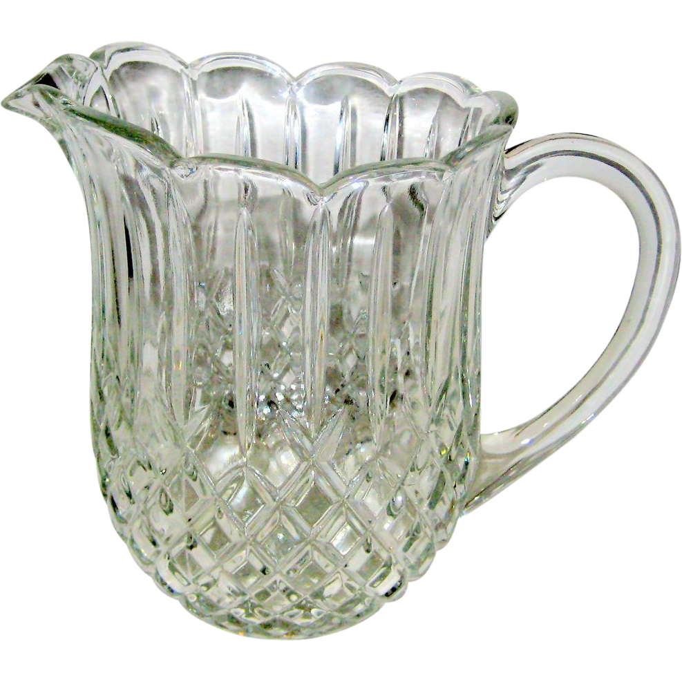 Crystal Water Pitcher in Diamond and Wedge Design
