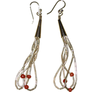 SALE 1970's Liquid Silver Earrings with Coral Colored Stones