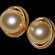 Faux Mabe Pearl Post Earrings - 1970's