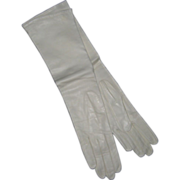 Unused Elbow Length Milanaise White Kid Gloves - Silk Lined, Size 7