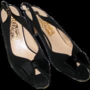 Salvatore Ferragamo Black Satin Peep-Toe Sling Back Dress Heels - Size 7 1/2AA