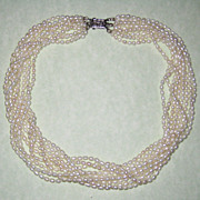 Freshwater Teardrop Cultured Pearl Necklace with Sterling Filigree Clasp - Nine Strands