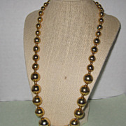 """SALE Gold-tone Necklace with Graduated Beads - 25"""""""