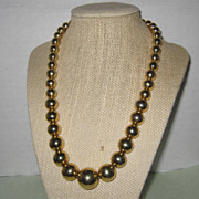 SALE Gold-tone Graduated Bead Necklace - Signed Deja