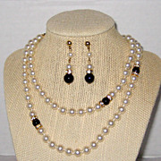 SALE Opera Length Necklace and Earring Set - High Quality Costume Pearls with Onyx and Rhinest