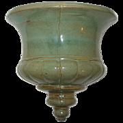 Hand Made Art Pottery Urn Wall Pocket Planter with Celadon Glaze