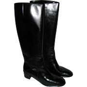 Salvatore Ferragamo Black Leather Knee High Riding Boots - Women's Size 8 - Mint