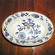 "Late Mayers ""Dresden"" Pattern Blue Onion Small Oval Dish - 1875"