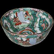 Rose Mandarin or Rose Medallion Porcelain Bowl - Figure in Window, 20th C
