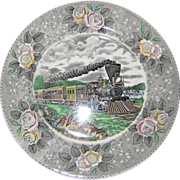 """Adams Currier and Ives """"American Express Train"""" Transferware Plate - Wild Rose Borde"""