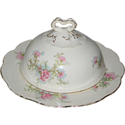 Knowles, Taylor & Knowles Semi-Vitreous Porcelain Butter Dome - Pink Carnations
