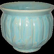 Art Pottery Jardiniere Planter with Heavy Aqua Matte Glaze - Circa 1925