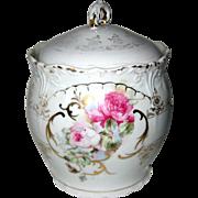 Antique Victorian Porcelain Biscuit Barrel with Roses