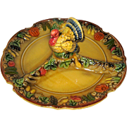 SOLD Napco Thanksgiving Turkey Ceramic Divided Hors D'oeuvres Platter