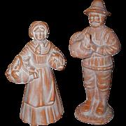 SOLD Pair of Ceramic Bisque Terra Cotta Pilgrim Figurines